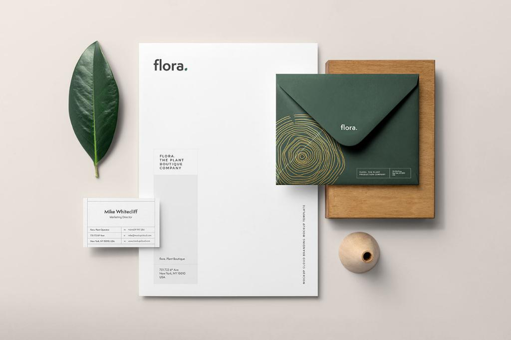 清新简约品牌VI样机PSD分层贴图Flora Branding Mockup