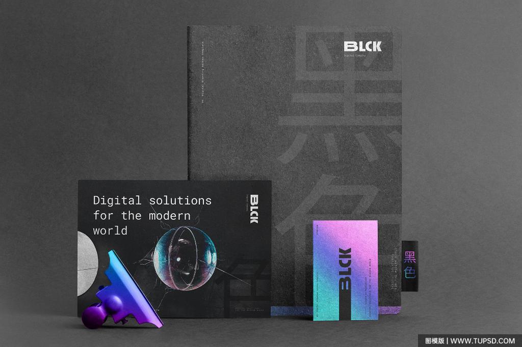 黑色质感品牌VI样机PSD展示效果图Black Branding mockup