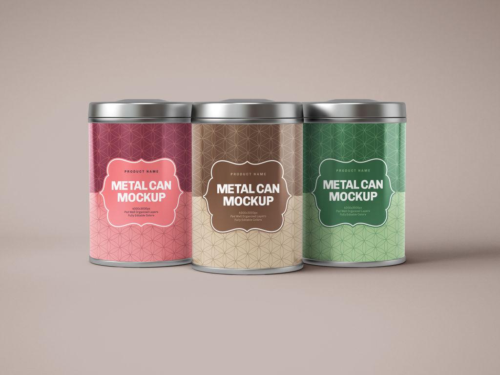 零食茶叶包装罐PSD样机贴图Glossy Round Tin Can Box Mockup B