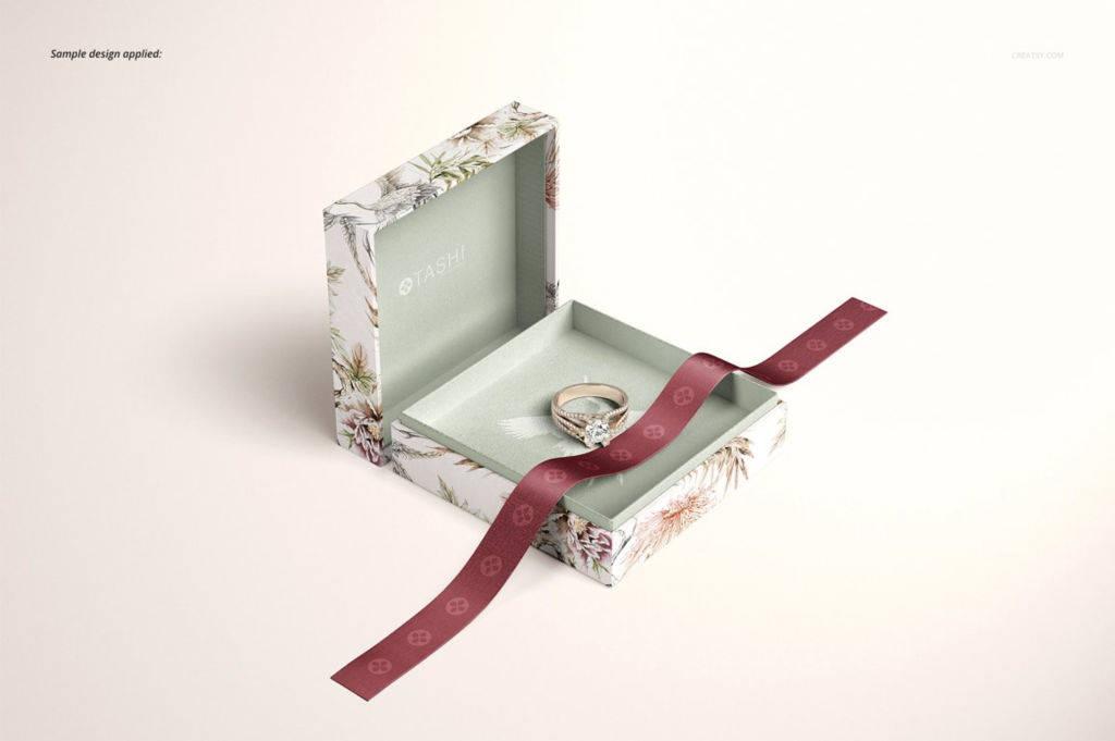 天地盖饰品礼盒包装PSD样机贴图 Jewelry Box Mockup Set
