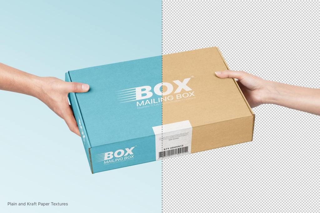 快递纸盒飞机盒包装设计PSD样机贴图Mailing Box Mockups Set