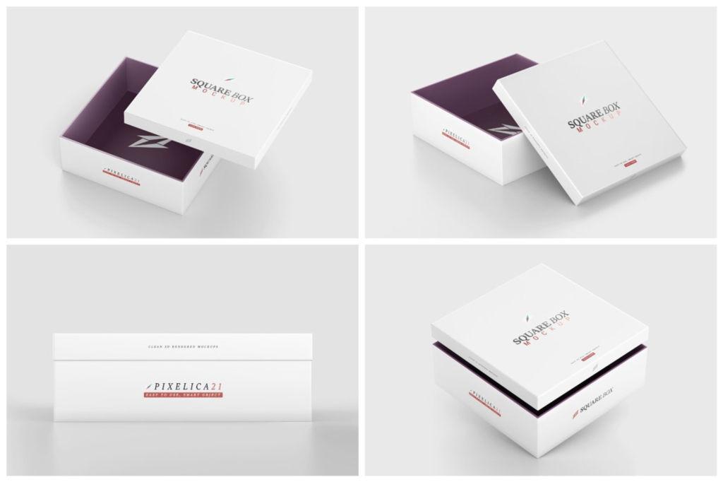 天地盖礼盒包装PSD样机贴图Square Box Mockup