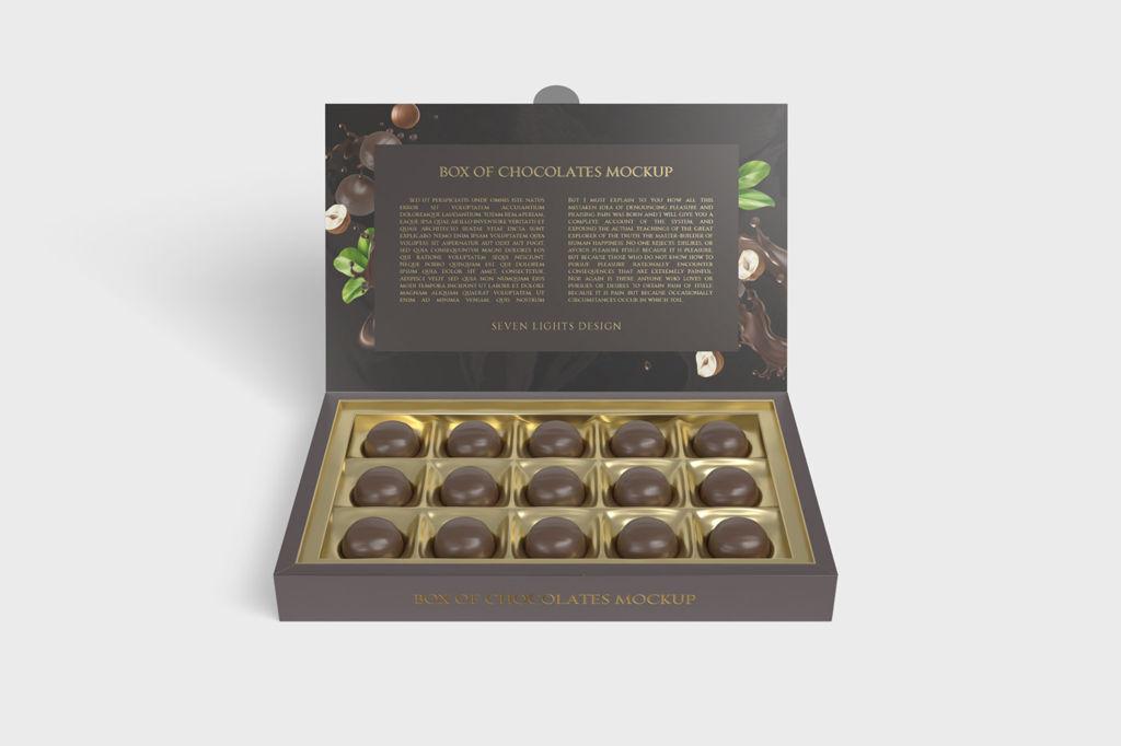 巧克力礼盒包装PSD样机贴图Box Of Chocolates Mockup