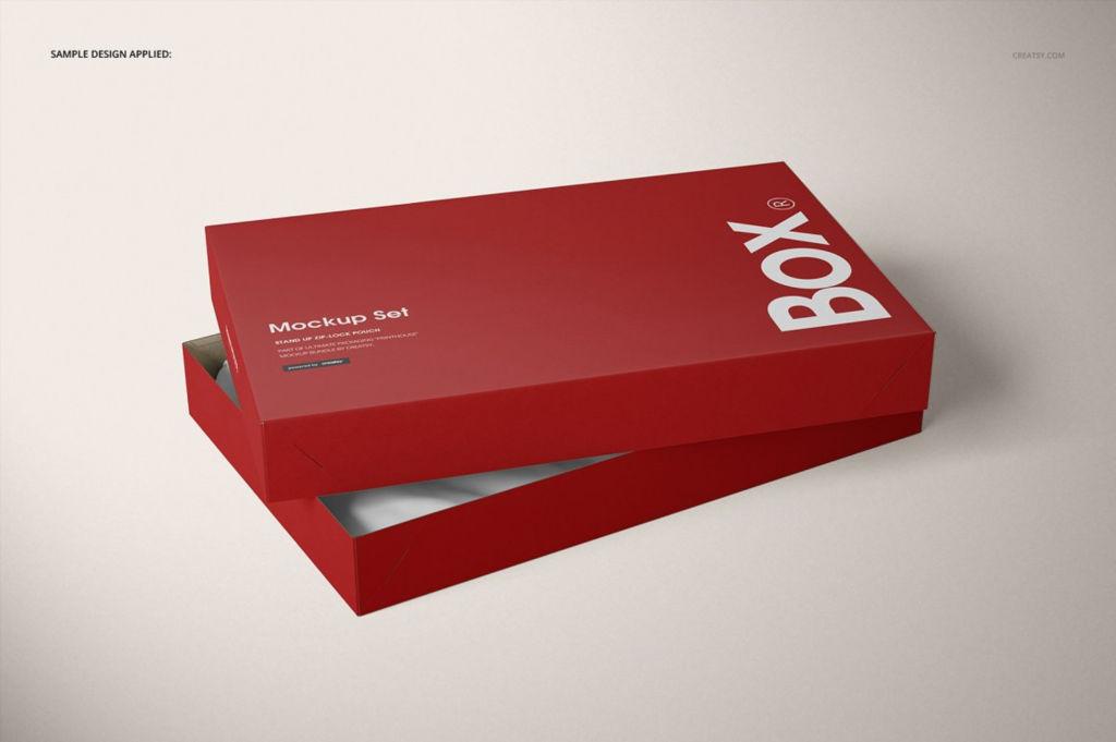 天地盖衬衫包装PSD样机贴图Piece Apparel Box Mockup Set