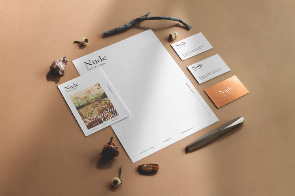 复古清新办公文具品牌VI展示PSD样机贴图Nude Branding Mockup