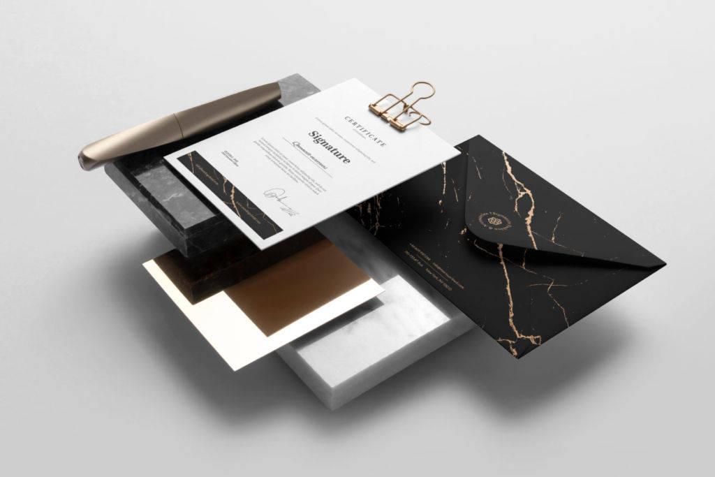 大理石质感办公文具品牌VI展示PSD样机贴图Signature Branding Mockup