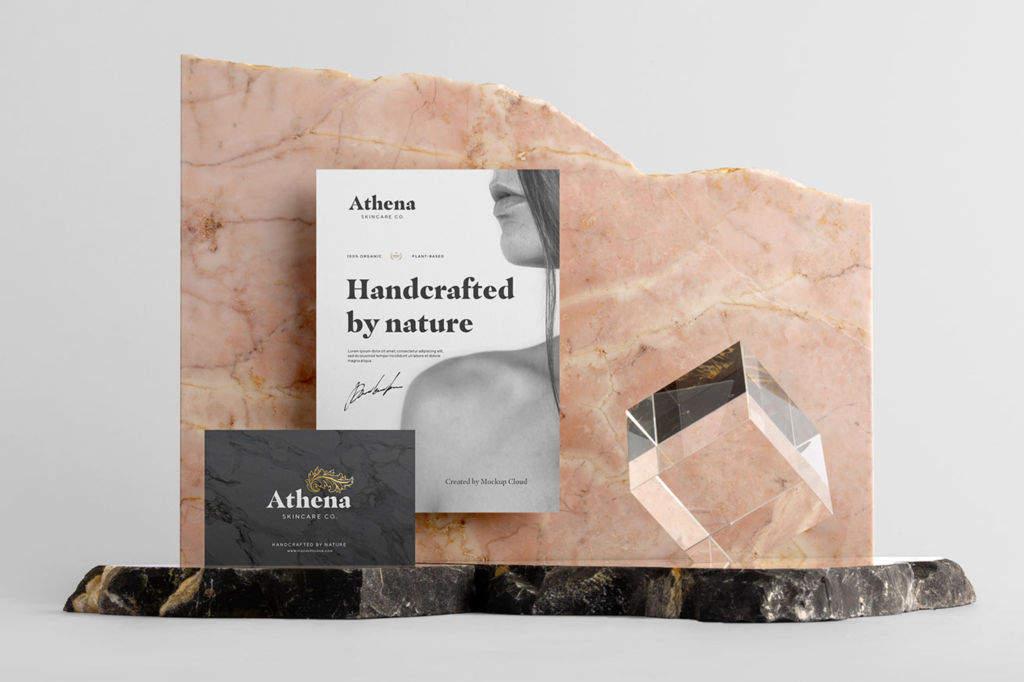 优质大理石办公文具品牌VI视觉PSD样机贴图Athena Branding Mockup