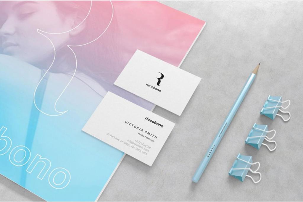 时尚渐变彩色企业VI设计PSD样机贴图模版Branding And Stationery Mockup