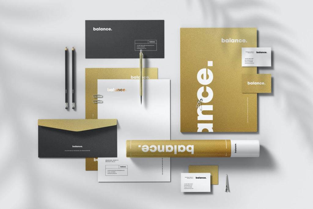 牛皮纸办公文具企业VI设计PSD样机贴图模版branding identity mockup