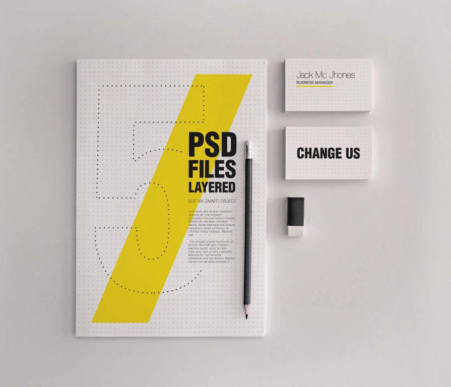 简约商务品牌VI视觉PSD样机贴图模版elegant realistic stationery mockups