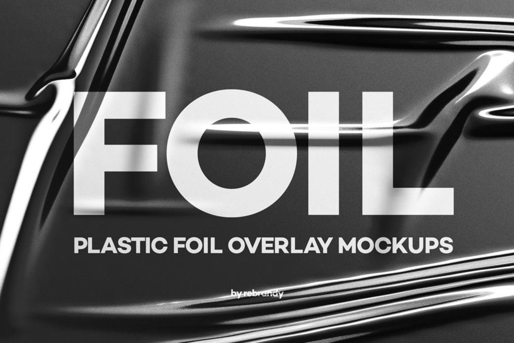 透明褶皱海报PSD样机分层模版 plastic foil overlay mockups