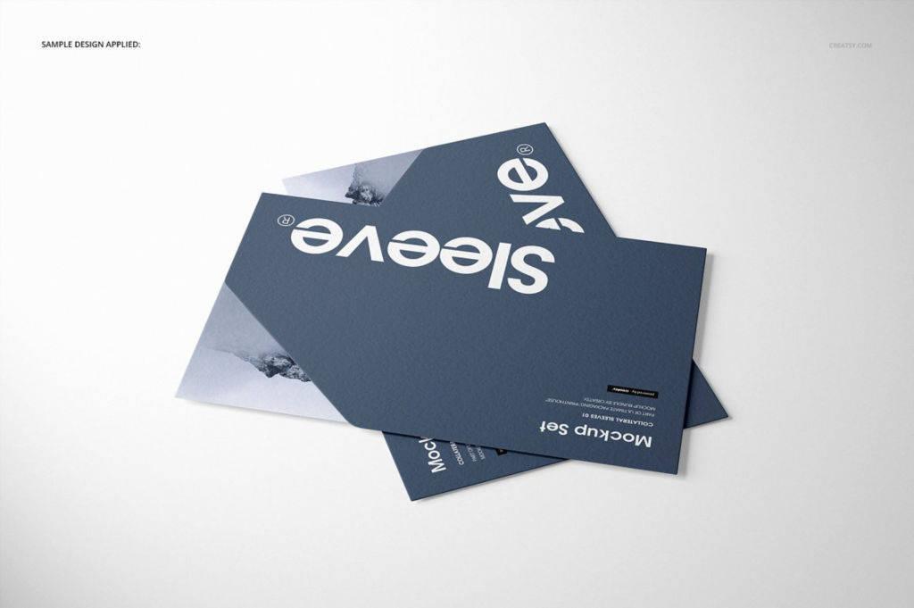 创意A4封套卡片PSD样机分层贴图 Collateral Sleeves Mockup Set