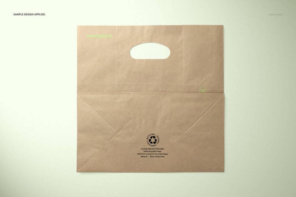 模切牛皮纸手提袋PSD分层样机贴图 Die Cut Kraft Paper Bag Mockup Set