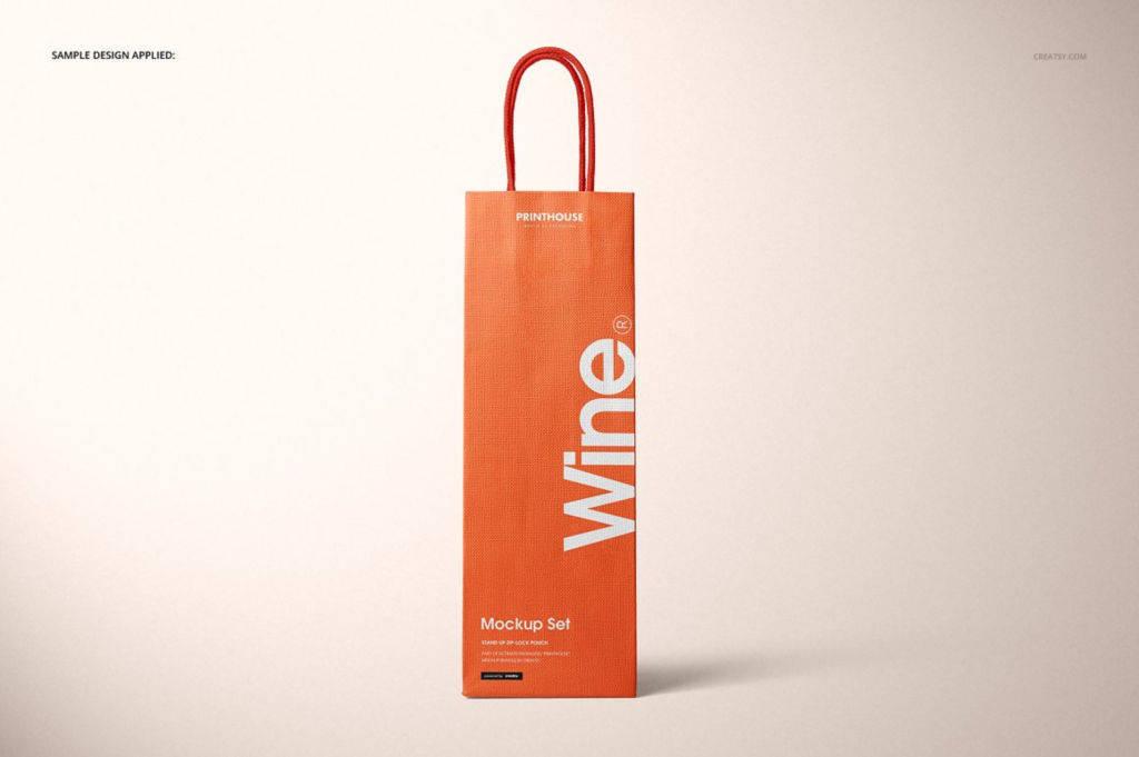 红酒包装针织袋手提袋PSD分层样机贴图模版Eurotote Wine Tote Bag Mockup Set