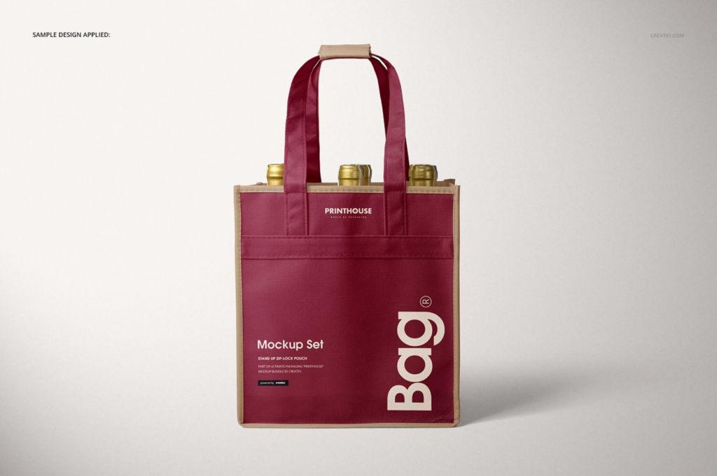 无纺布手提袋红酒袋PSD分层样机贴图模版 Bottle Non Woven Tote Wine Bag Mockup Set