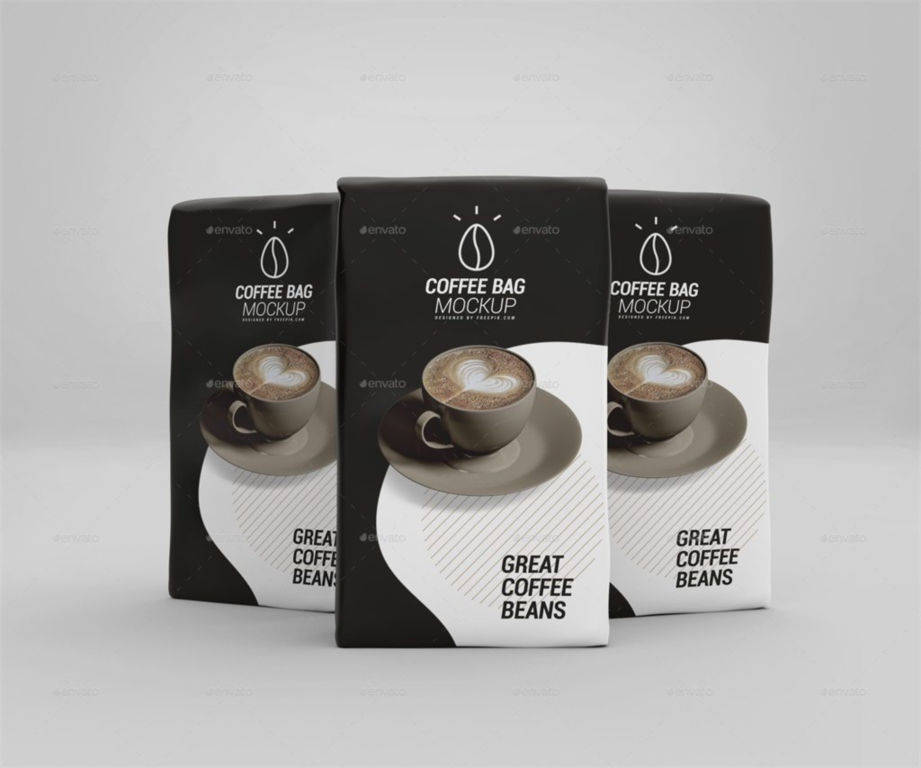 食品咖啡纸袋包装袋PSD分层样机贴图Coffee Paper Bag Mockup