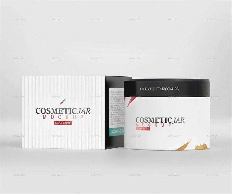化妆品瓶包装罐包装盒PSD样机贴图模版Cosmetic Jar & Box Mockup