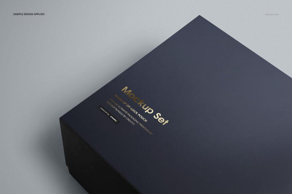 时尚精致长方形礼盒包装PSD样机贴图模版Magnetic Gift Box Mockup Set