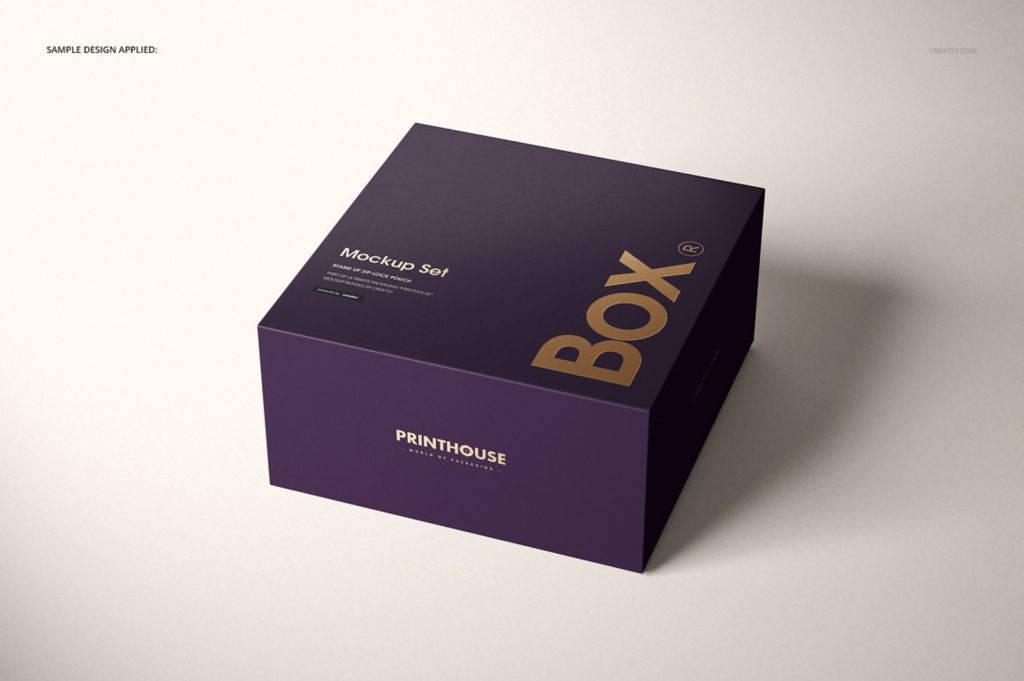 时尚精致正方形礼盒包装PSD样机贴图模版Magnetic Gift Box Mockup Set