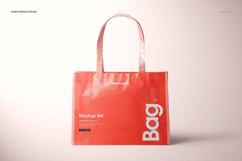 横版光滑无纺布手提袋PSD分层样机贴图Laminated Non Woven Tote Bag Mockups