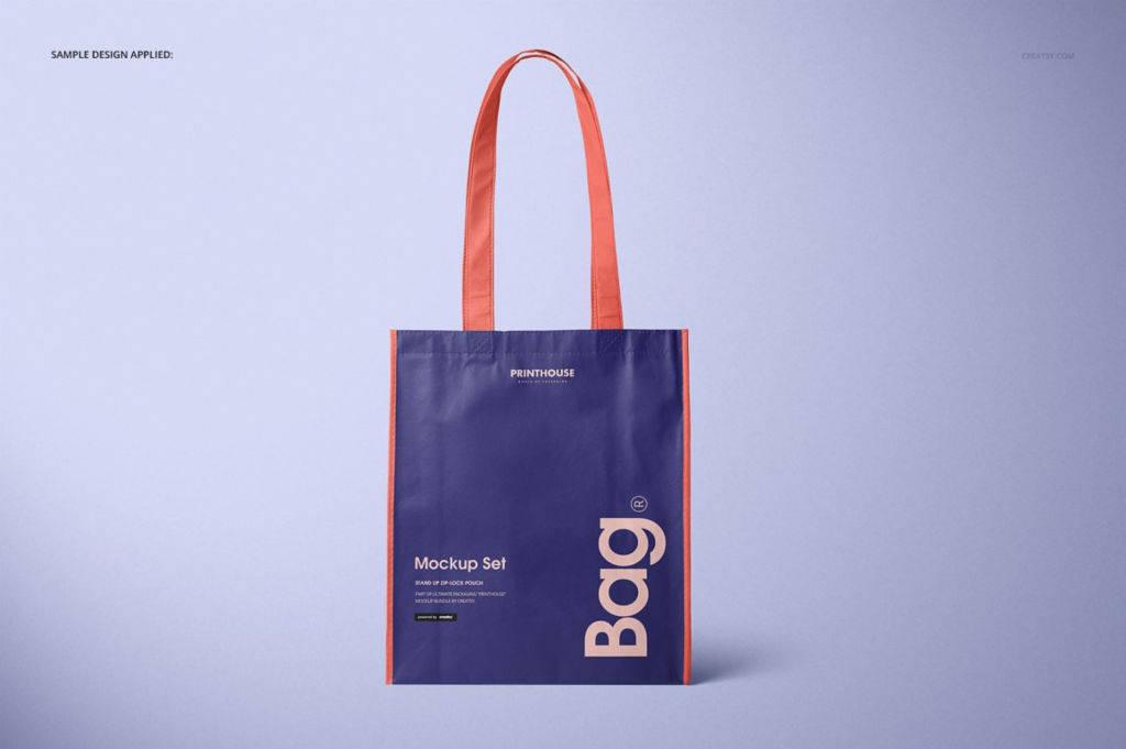 竖版光滑无纺布手提袋PSD分层样机贴图 Laminated Non Woven Bag Mockups 2