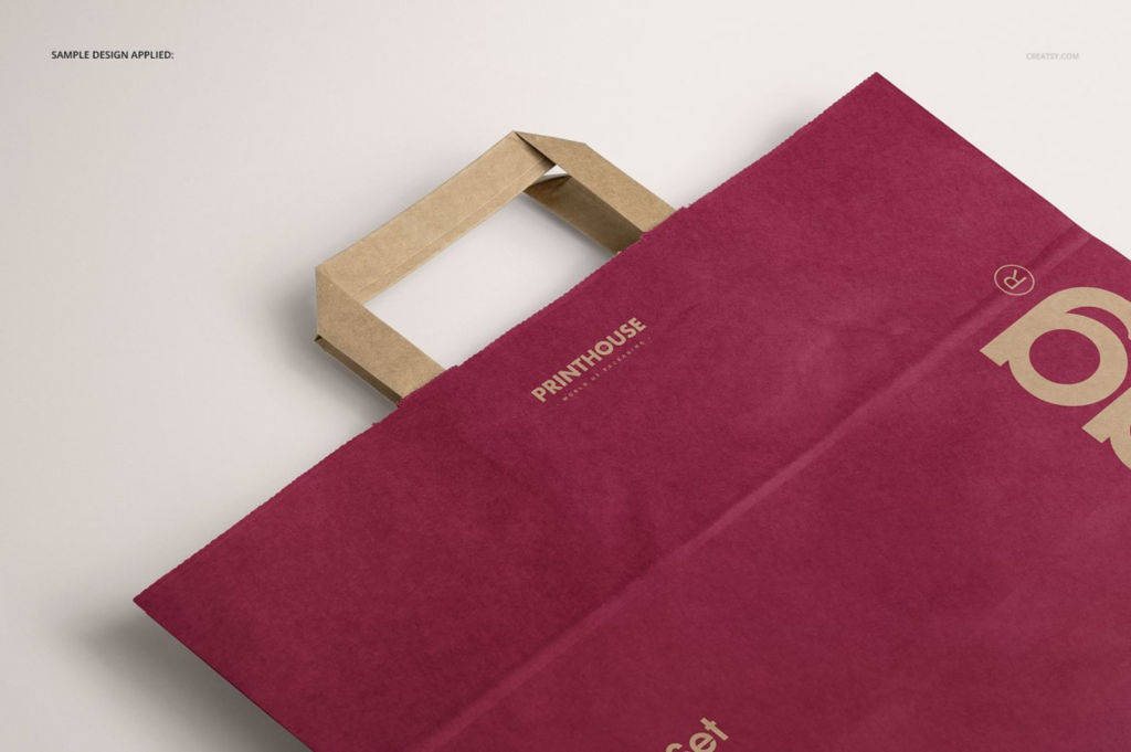 横版牛皮纸手提袋PSD分层样机贴图Folded Handle Kraft Paper Bag Mockup