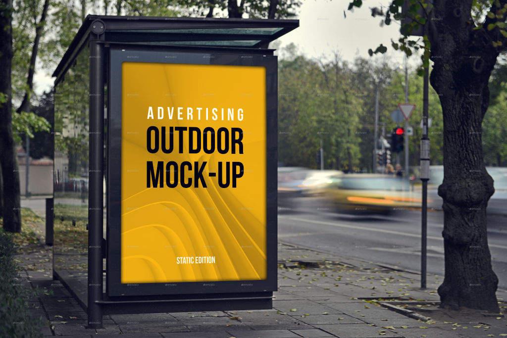 户外灯箱海报广告牌PSD分层样机贴图 outdoor advertising mockups