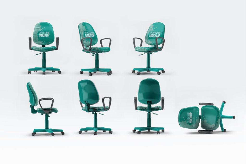 企业办公椅PSD分层样机贴图office chair mockup