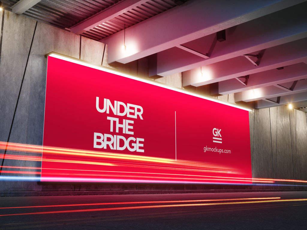大尺寸户外广告牌灯箱海报样机PSD分层贴图模版Under the Bridge Billboard Mock up
