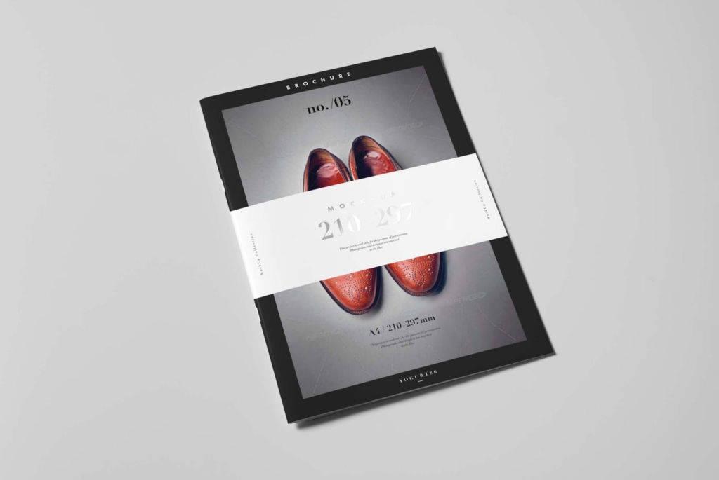 A4手册目录二折页样机PSD分层贴图模版A4 brochure catalog booklet mockup