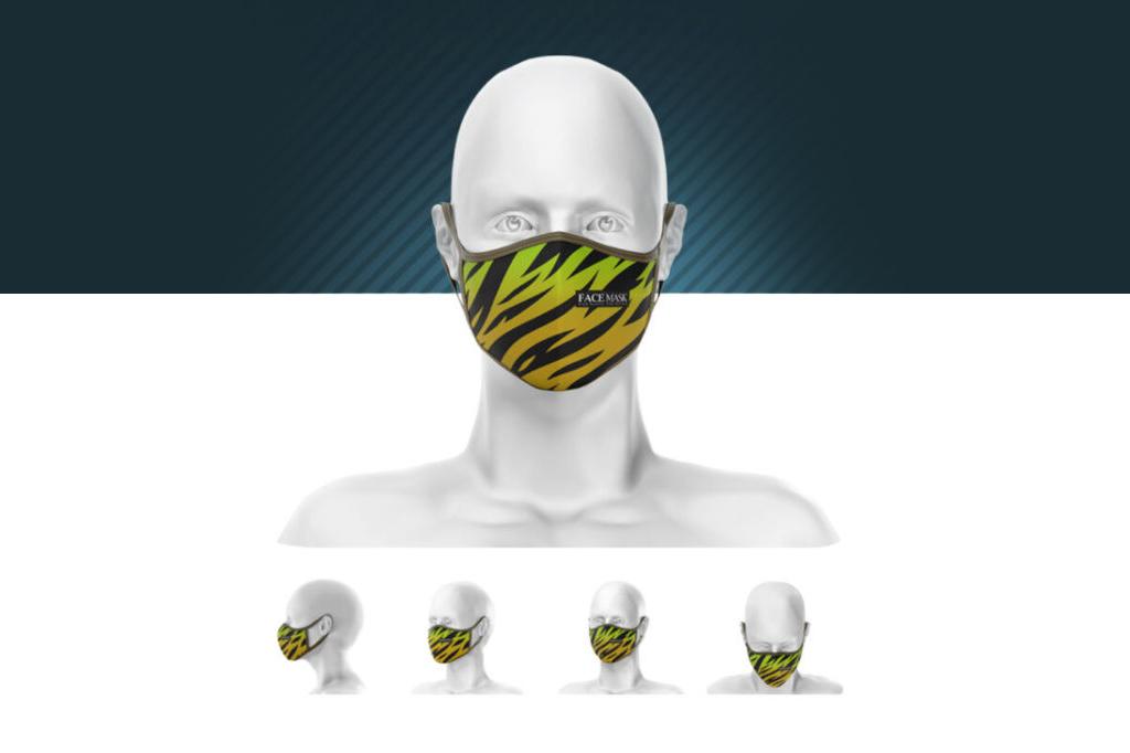 多角度人物面部口罩样机PSD分层贴图模版face mask mockup
