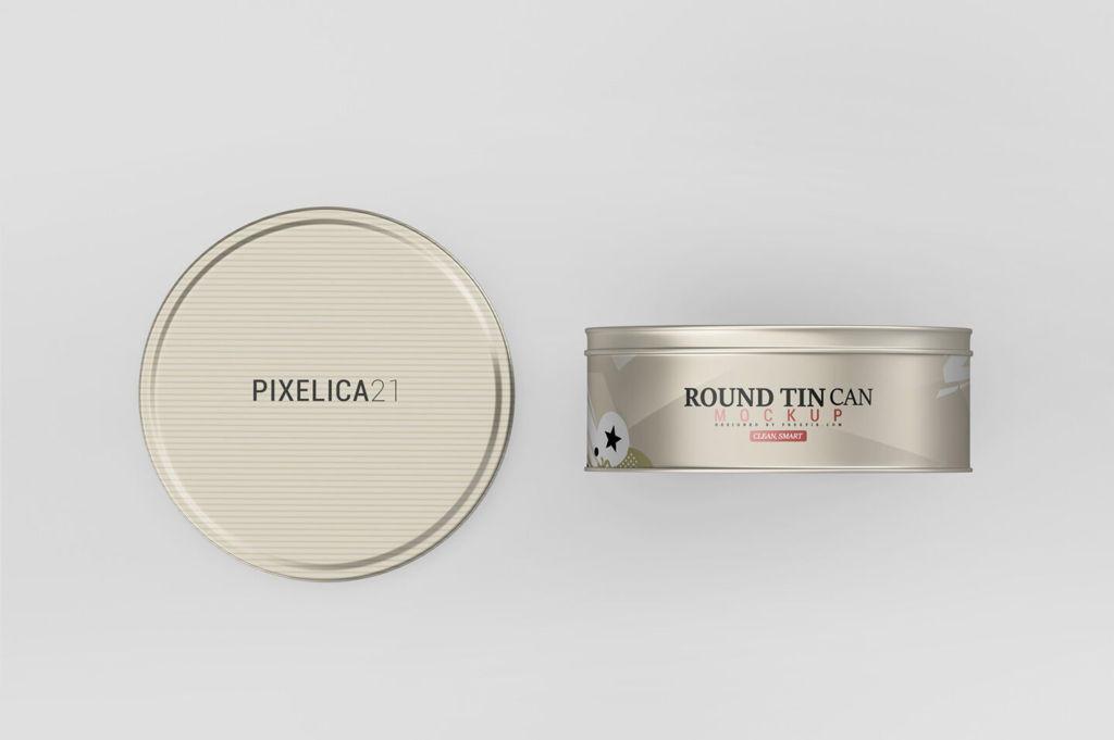 零食圆柱形茶叶铁罐样机PSD分层贴图round tin can mockup