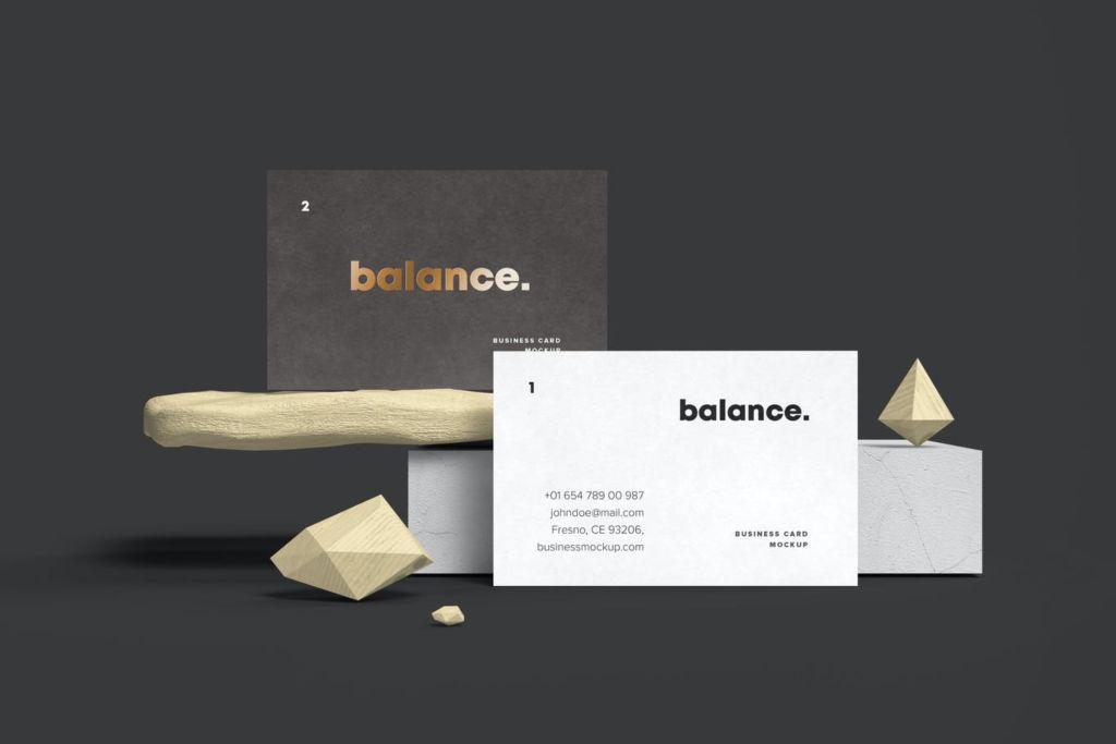 高端品牌名片设计PSD样机贴图 Business Card Mock-up