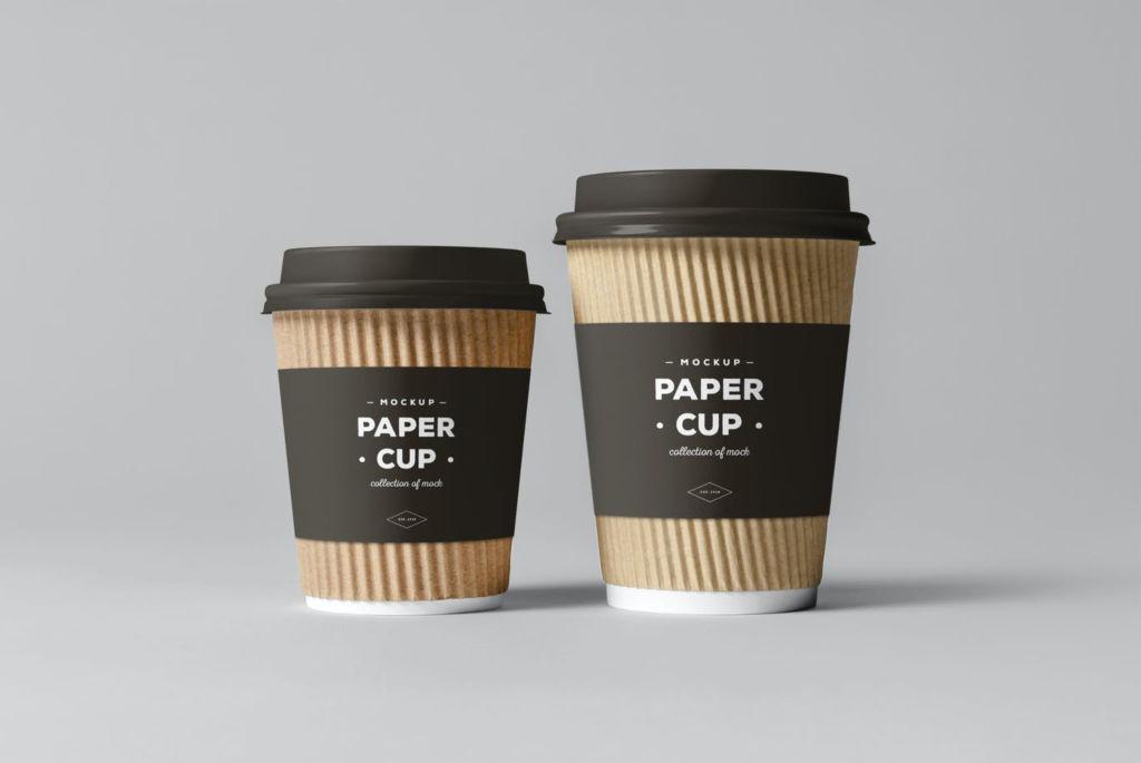 多尺寸咖啡杯纸杯样机PSD分层贴图模版paper cups mockup