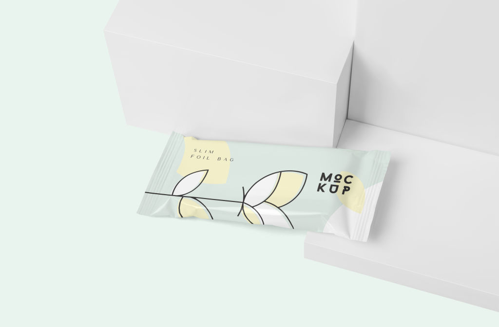 简约铝塑袋包装袋样机PSD分层贴图模版Slim Foil Bag Mockups