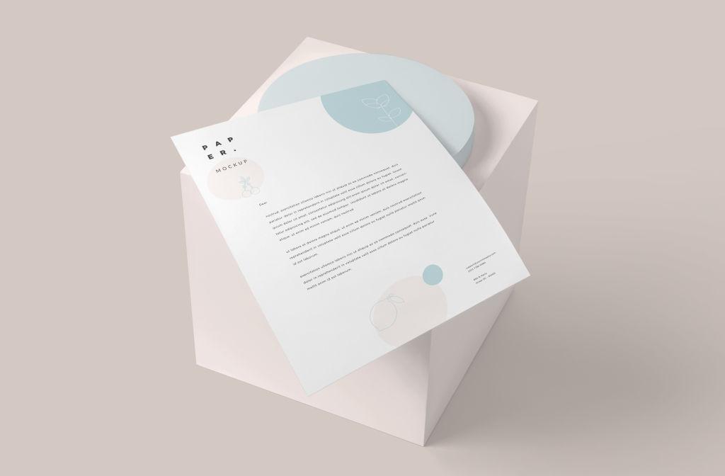 A4办公信纸样机PSD分层贴图模版Letter Stationery Paper Mockups