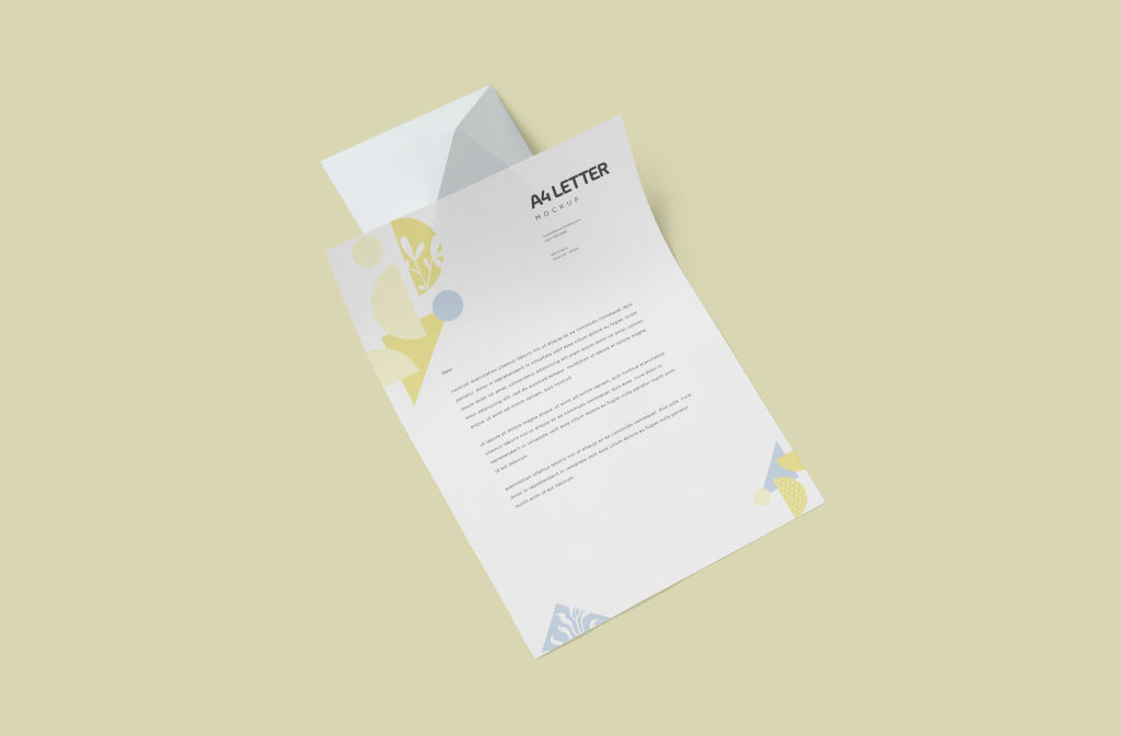 A4办公信纸样机PSD分层贴图模版A4 Size Letter Mockups