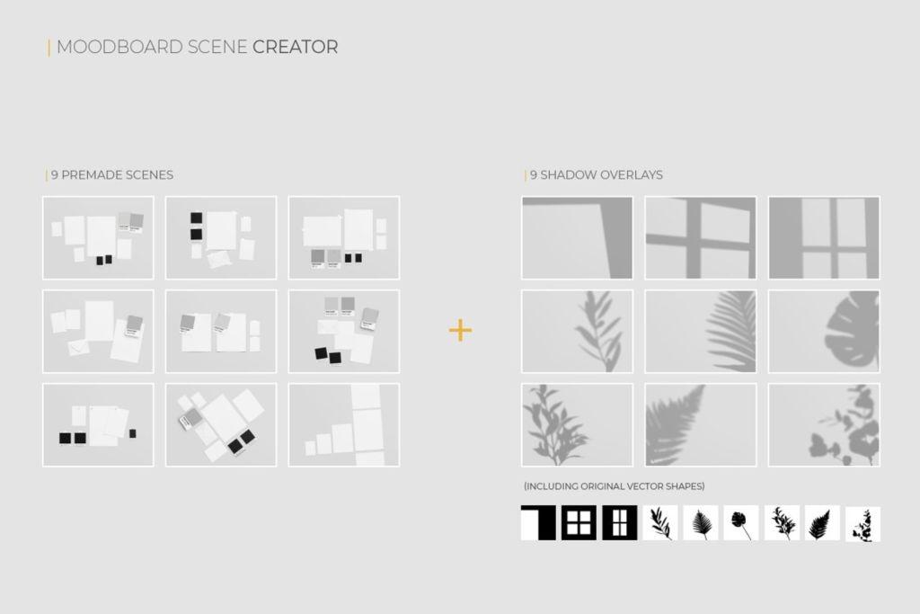 多尺寸场景阴影信纸卡片样机PSD分层贴图模版 moodboard scene creator mockup