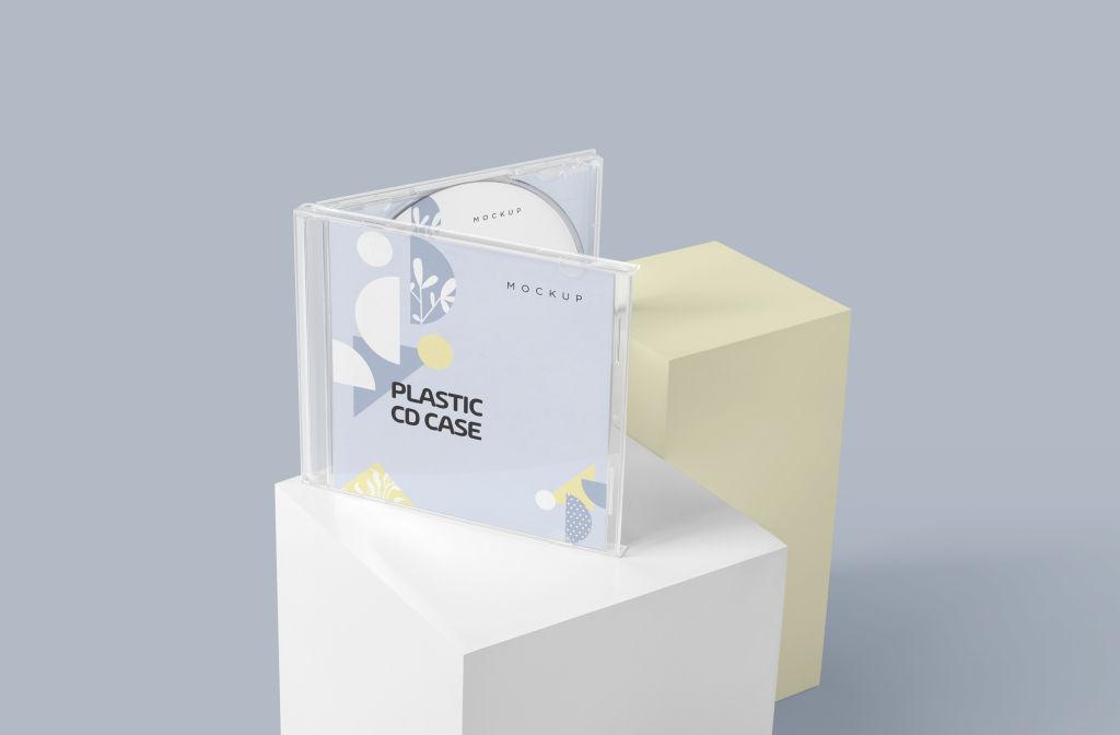 多角度塑料光盘CD盒样机PSD分层贴图模版Plastic CD Jewel Case Mockups