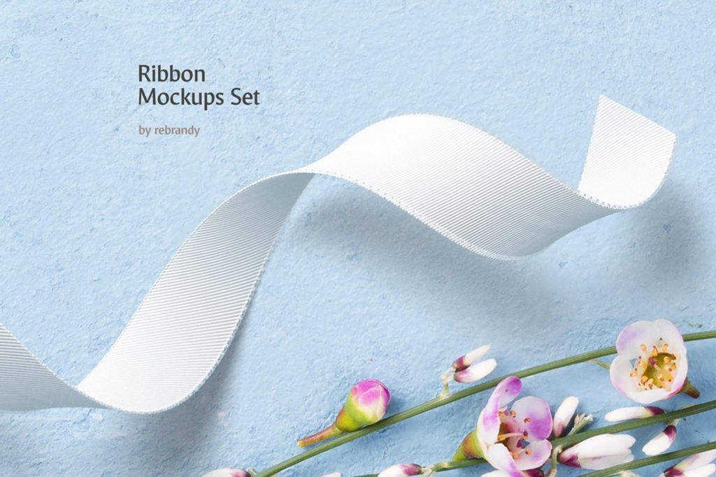 时尚布料弯曲褶皱丝带样机PSD分层贴图模版Ribbon Mockups Set