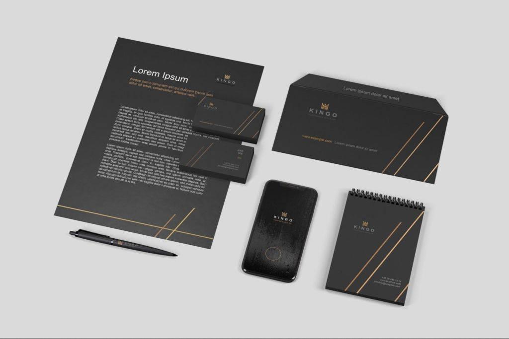 黑金品牌VI样机PSD分层贴图模版Stationery Branding Mockup Set