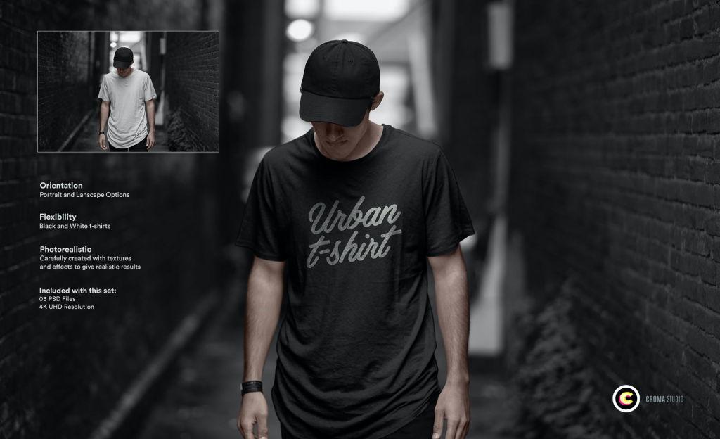 城市背景T恤样机PSD分层贴图模版urban tshirt mockup
