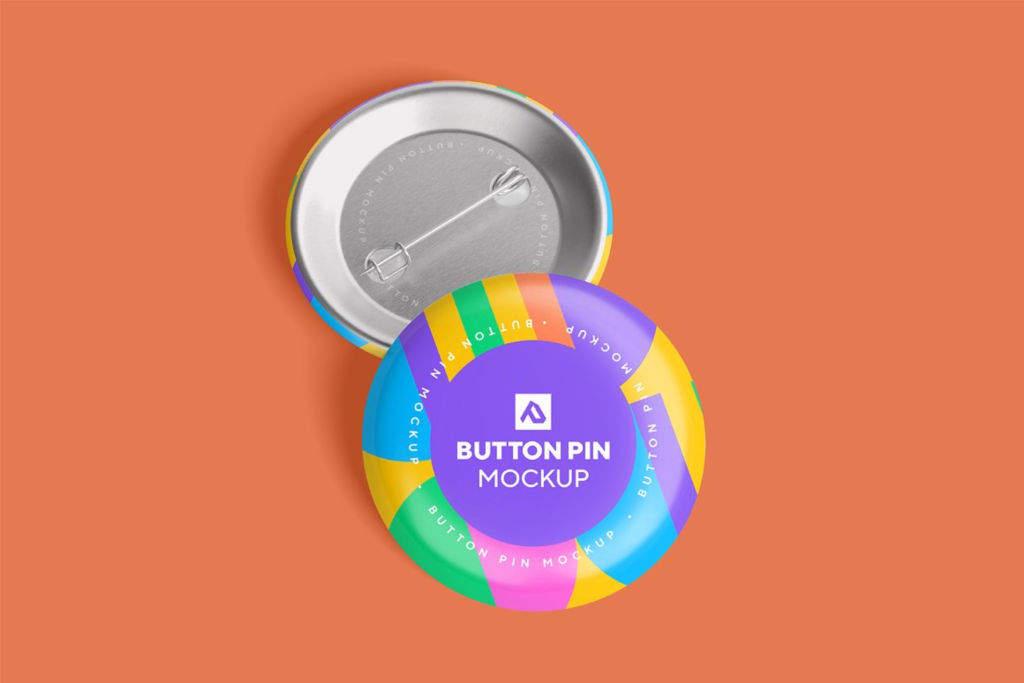 光泽圆圈按钮别针徽章样机PSD贴图模版Glossy Circle Button Pin Badge Mockup Set