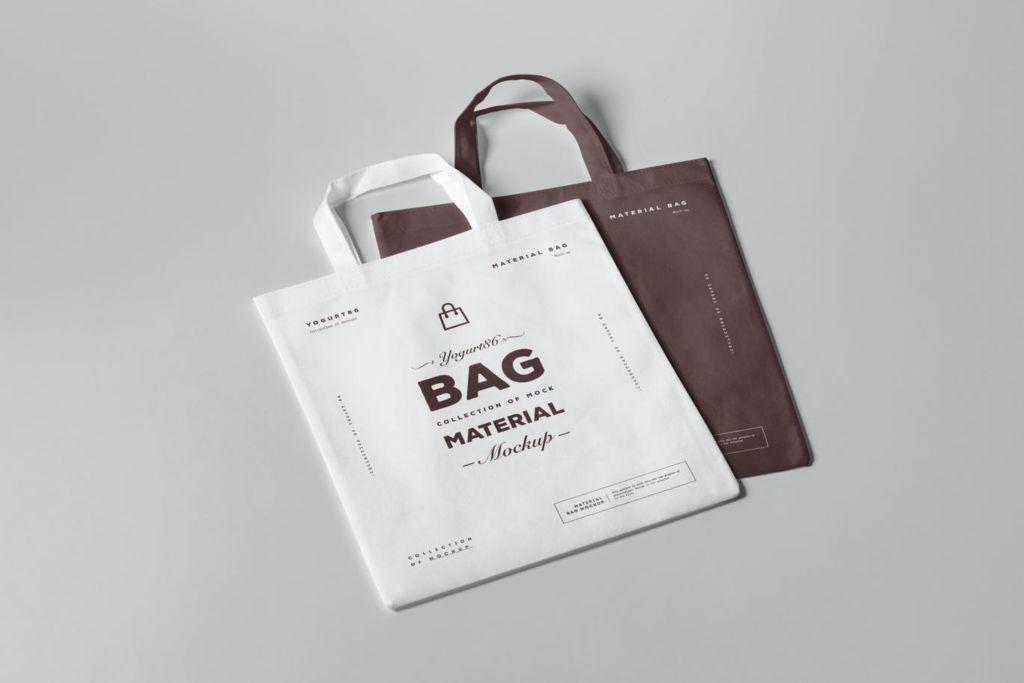 布袋手提袋样机PSD贴图模版material bag mock up