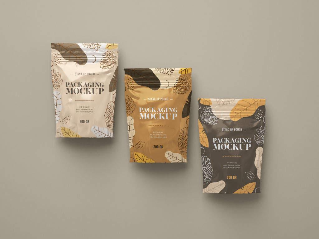 立式食品包装袋样机PSD贴图模版Stand Up Pouch Mockup Set