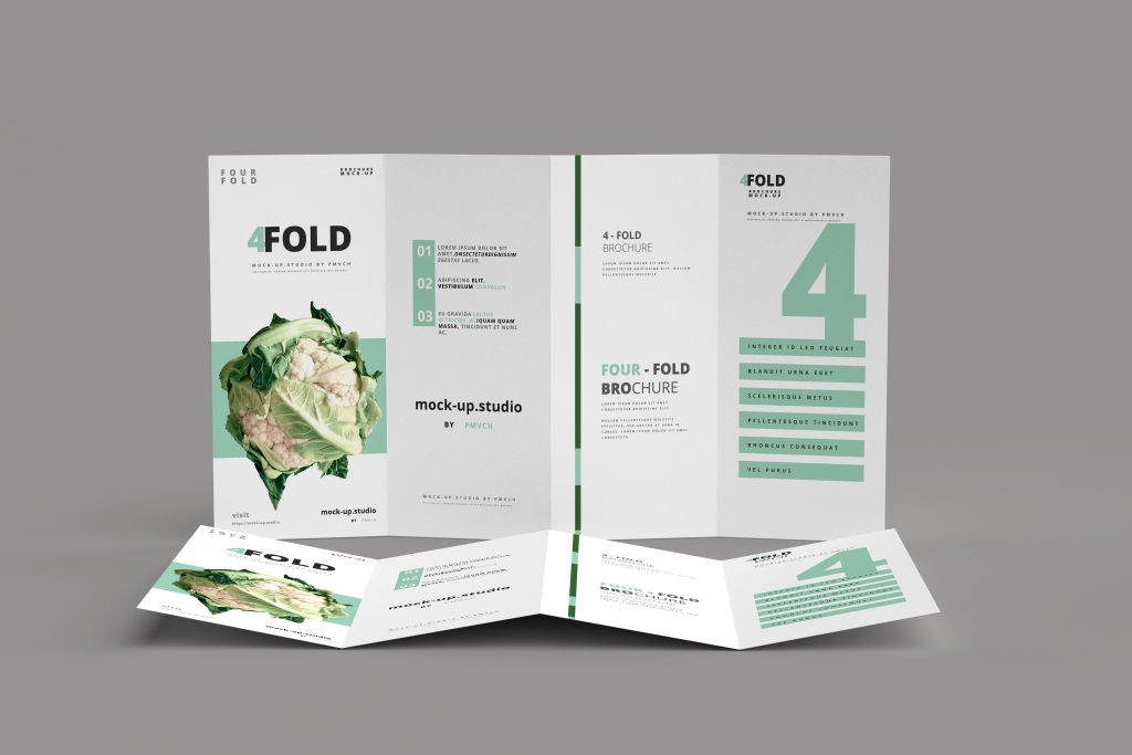 多角度设计展示四折页样机PSD贴图模版Four-Fold (4 fold) Brochure Mockups