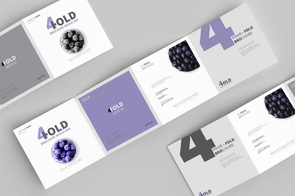 正方形四折页样机PSD贴图模版Square Brochure Mockups Four Fold