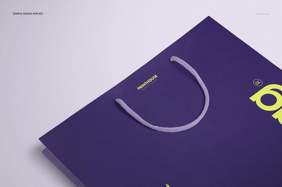 横版手提袋样机PSD贴图模版Eurotote Bag 1 Mockup Set