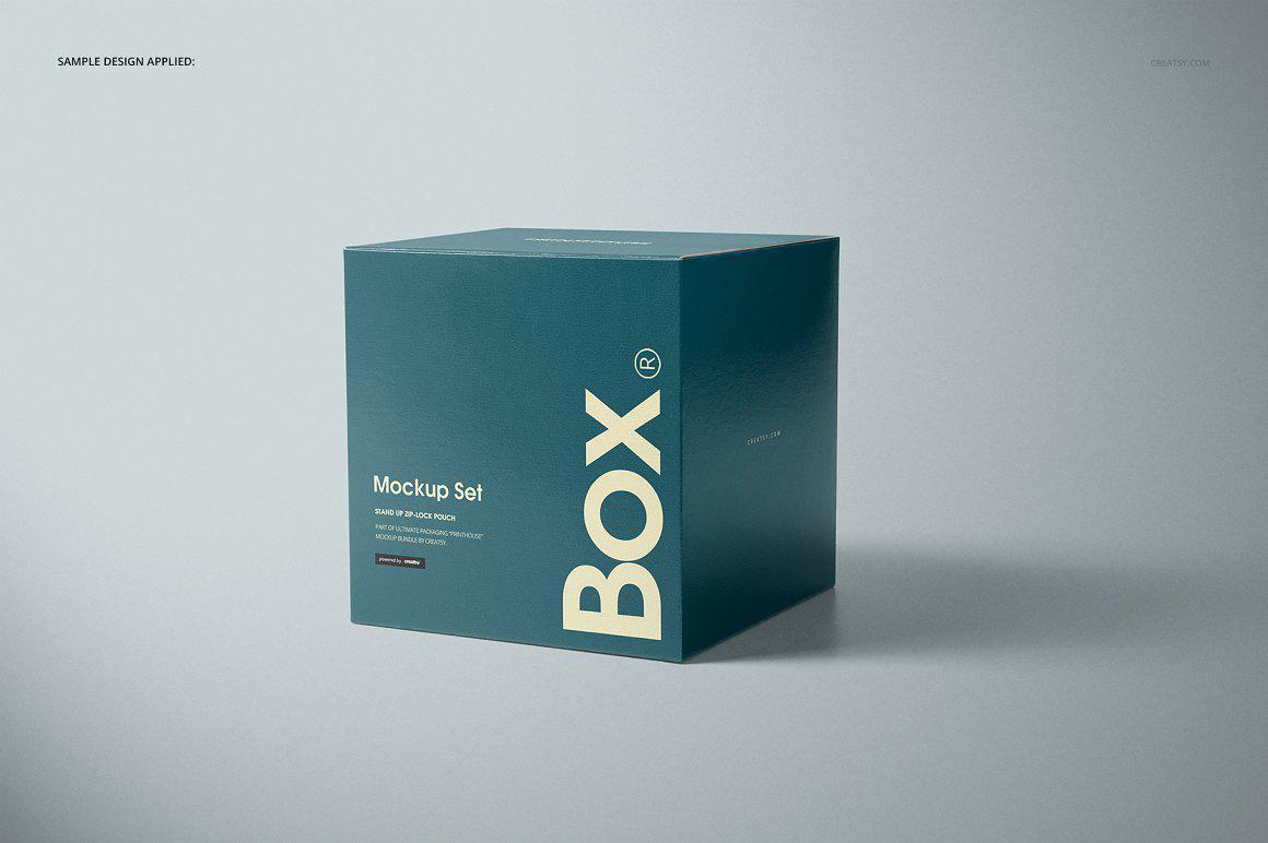 正方形礼盒包装盒样机PSD贴图模版Glossy Gift Square Box Mockup Set