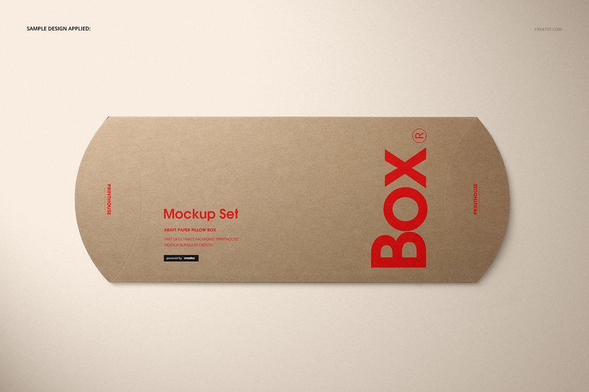 牛皮纸纸枕头盒纸盒样机PSD贴图 Kraft Paper Pillow Box Mockup Set